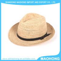 natural straw panama fedora hat with PU ribbon band