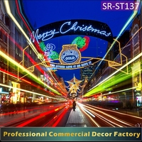 Custom commercial Street overhead giant LED lighted merry Christmas motif silhouette