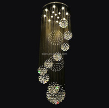 Large 11 Sphere Rain Drop Clear LED K9 Crystal Chandelier for Staircase Hotel Restaurant