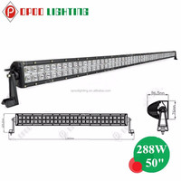 China wholesale 12v waterproof 50'' 288w offroad curved led bar lights for 4x4 jeeps