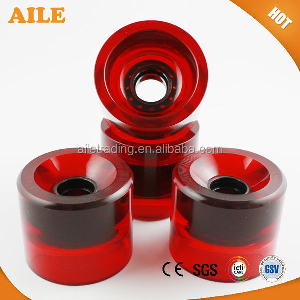 High Rebound Custom Printed Longboard Wheels For Retro Cruiser Plastic Skateboard