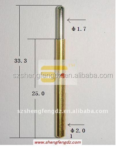 33.3mm length pcb brass test probe with Au Plating
