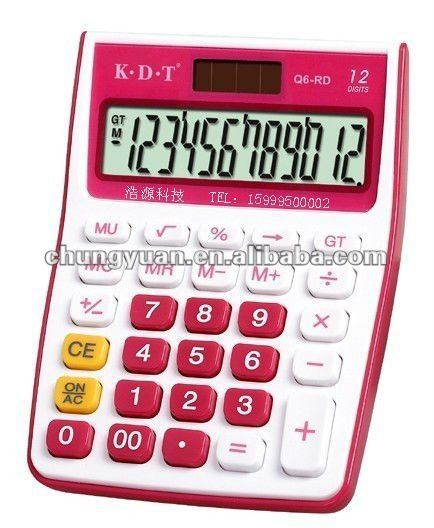 12 digits desktop calculator with colorfully digit Q6-RD