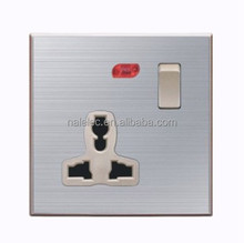 High quality stainless steel 1 gang 1 way wall switch with multi functional 3 pins socket