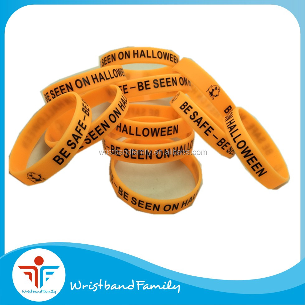 BE SAFE -BE SEEN ON HALLOWEEN printing silicone bracelet /Glow in the dark Halloween silicone wristbands