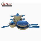 8pcs well equipped kitchen cookware blue ceramic coated set