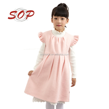 Korean style pink lovely lace woolen winter party dress for girls
