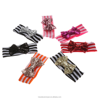 Fashion sweet girls hair bands with sequin bow