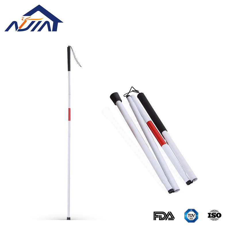 Rehabilitation Disabled Handicapped and Folding White Blind Cane Stick 4 sections ultralight