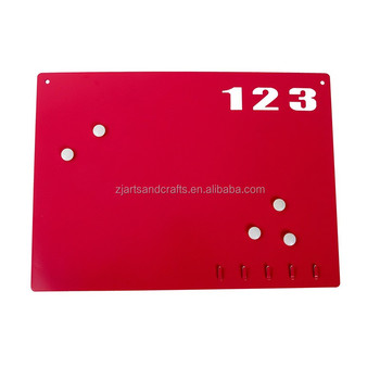 Metal Wall-mounted Erasable Memo Board with Key Hooks and Magnets