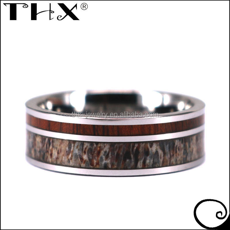 Flat Koa Wood and Elk Antler Inlay Tungsten Promise Engagement Ring
