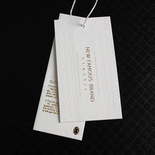 2018 fashion luxurious goil foil paper hang tag with glossy logo