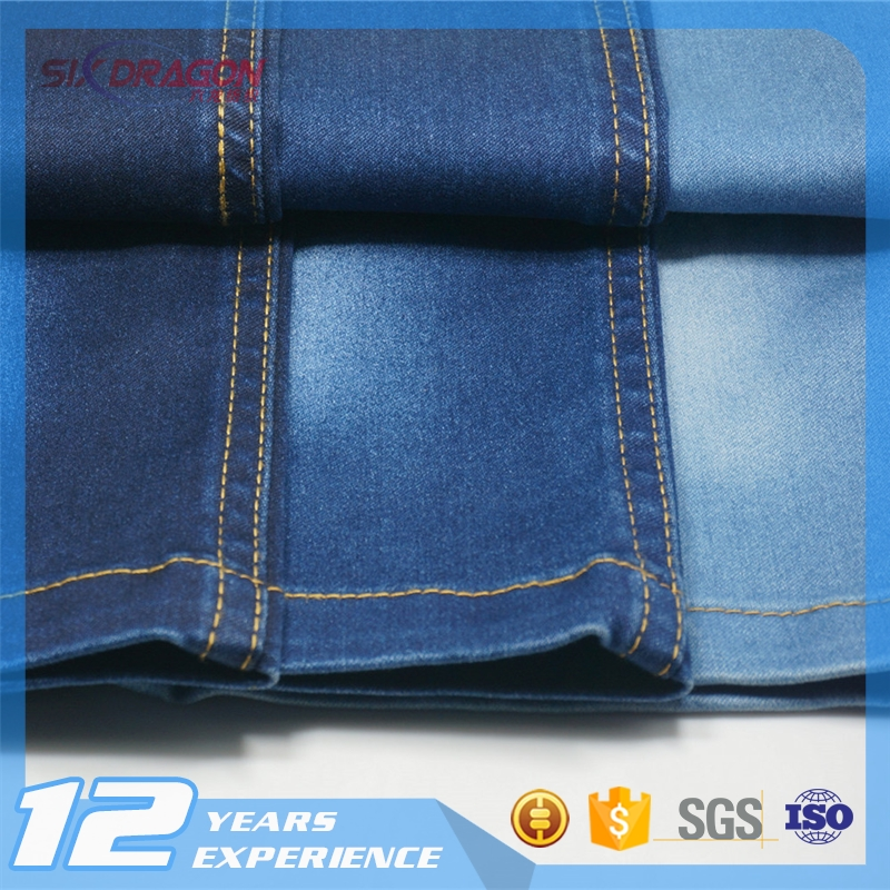 stretch satin denim fabric,twill weave cotton fabric,cotton and elastane fabric with SGS certificate