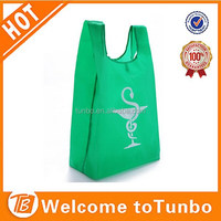 OEM green small pouch with clip big folding fashion shopping bag design