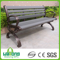 New product 2017 wood plastic composite garden park bench with cast aluminum