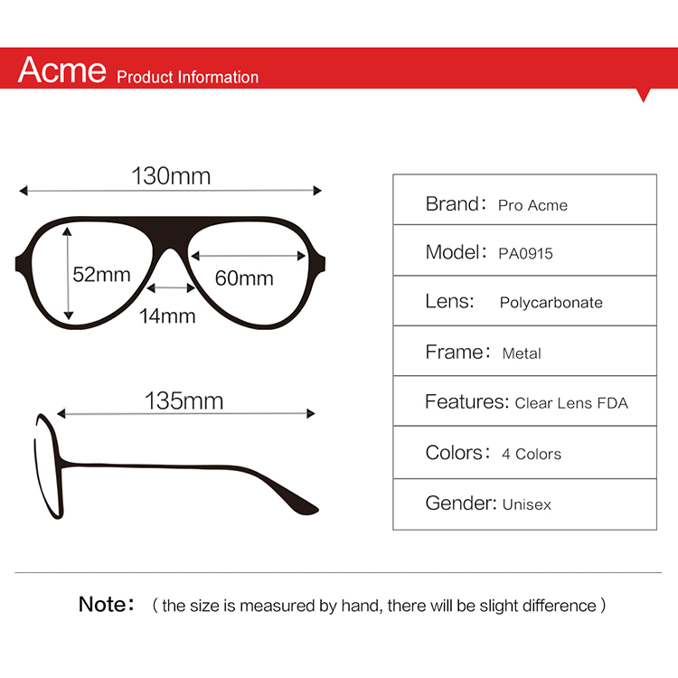 Pro Acme Fashion Newest Style Polygon Optical Gold Frame Glasses Men Brand Clear Lens Glasses Eyeglasses spectacle Frame PA0915