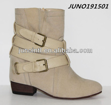 2014 Beige High heel hidden Back half boots,Half wellington boots, High heel hidden boots