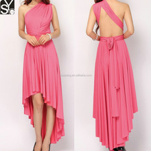 One Shoulder Hot Pink Infinity Girls Short Front Long Back Prom Dress With Bow Tie