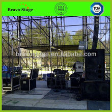 Stage with truss tower legs elevator tower truss