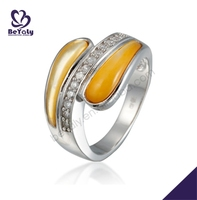 Delicate yellow enamel silver diamond gold gents ring