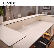 High End frosted glass High Gloss White Modern Office Reception Desk