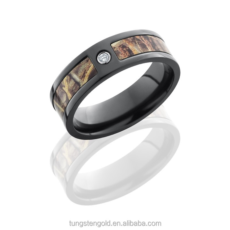 inlay 5mm tree camo diamond wedding bands black titanium rings for men
