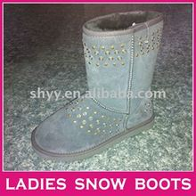 Rivet Blue jeans women leather fashion boot hot snow boot