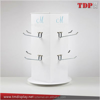 Manufacturer 4 Sides Rotating Counter Acrylic Displays with Metal 8 Pieces Hook