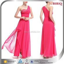 chiffon one shoulder satin dress designs 2015 fashion dress women red brides maid matron of honor dresses