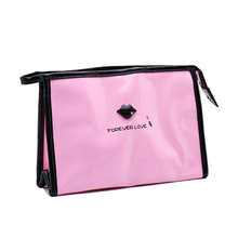 Cute cartoon lips clutch waterproof make up bag large cosmetic travel bag