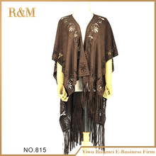 New coming novel design fashionable ladies suede shawls