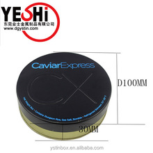 Metal Tinplate Food Grade Round Caviar Packaging Tin Cans with stamping logo