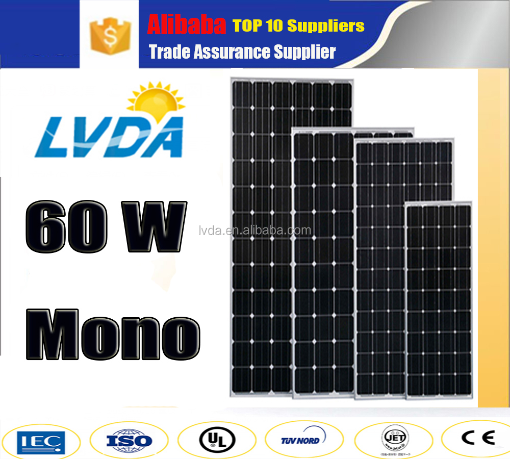 LVDA factory directly sale cheap price New moudle solar panel 60W Mono Solar Panel in India cheap price