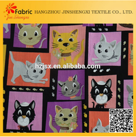 High quality cat printed anti-static cotton fabric cartoon printing