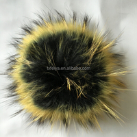 Natural Raccoon Dog Fur Pom Poms Ball for Keychain /Bag /Mobile's Pendant
