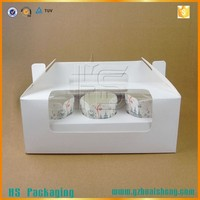 white paper box for cupcake/cake box/cupcake box with clear plastic pvc window