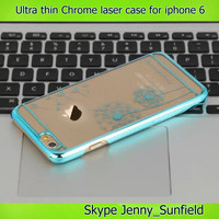 Mobile phone case Chrome clear laser carve ultra thin case for iphone 6 plus 4.7, for iphone 6 case clear crystal