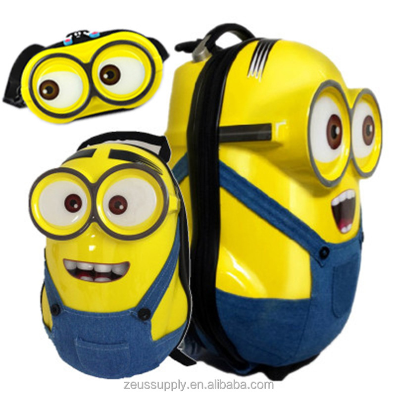 2016 new design factory wholesale custom children 3D Minions kids travel school trolley case bag 3D-1