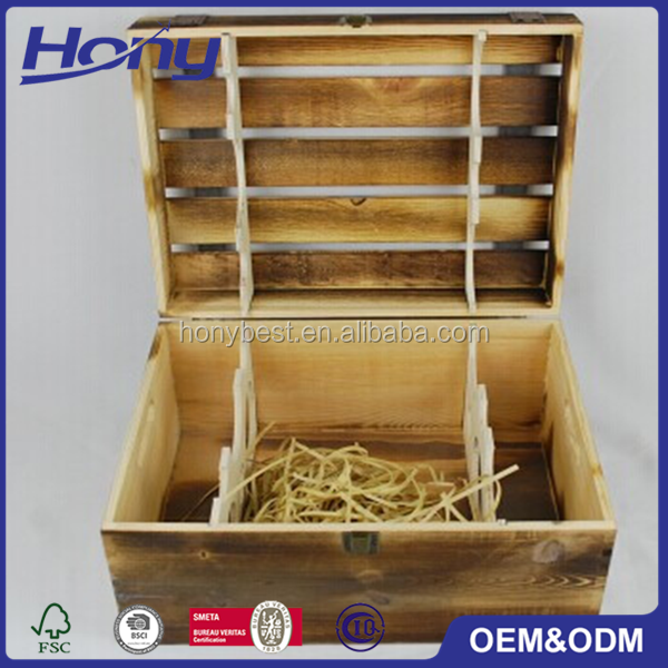 Rustic Wholesale High Quality Wood Shipping Crates with Hinged Lid and Handle