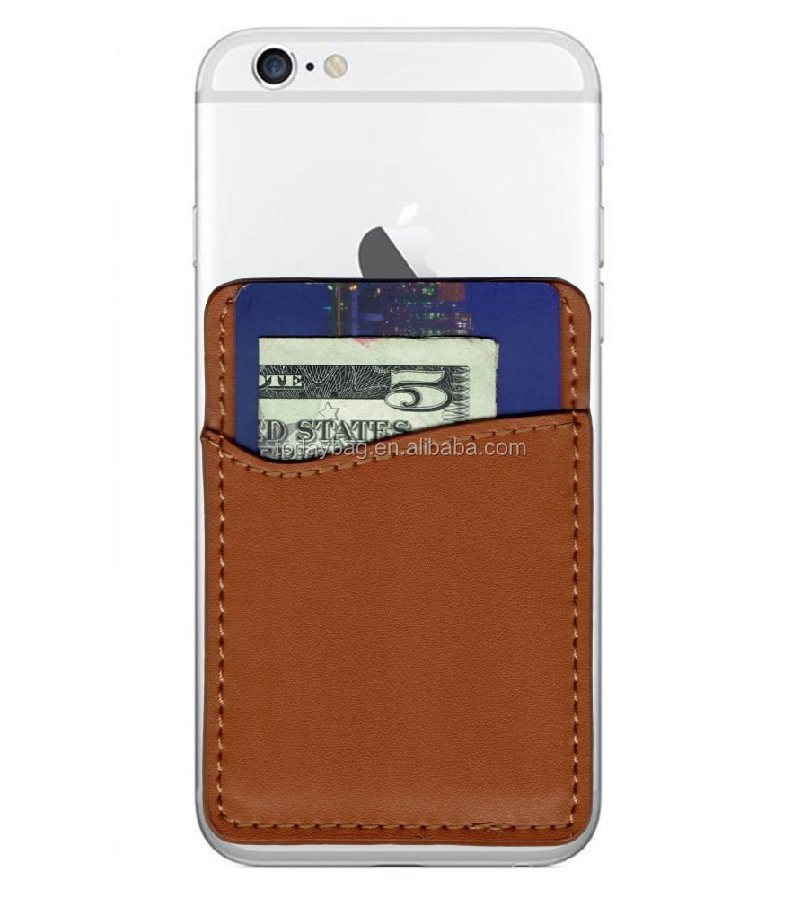 Self-Adhesive leather Credit Card wallet for Smartphones
