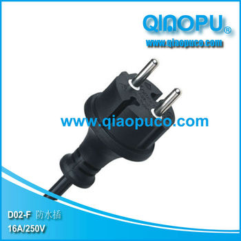 Waterproof VDE power cord/European VDE power cord
