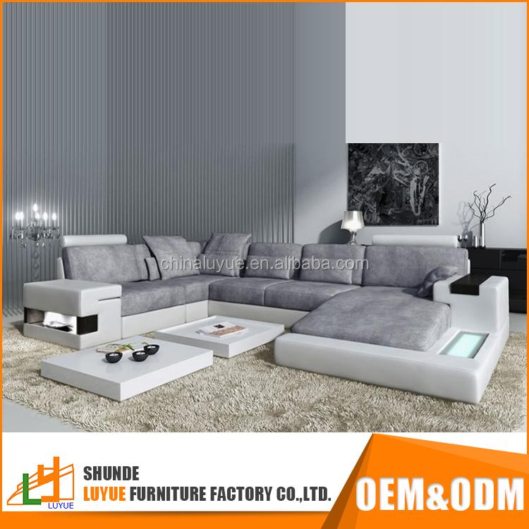 Top verkauf modernes design angepasst echtes leder wohnzimmer möbel u form ecksofa 5 sitzer ...