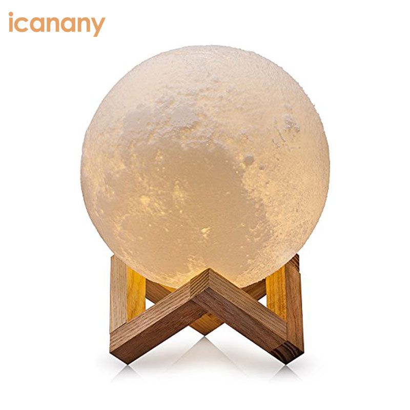 5.7 Inch Moon Lamp 3D Printed Light Touch Control Stepless Dimmable with Warm White & Cool White Light