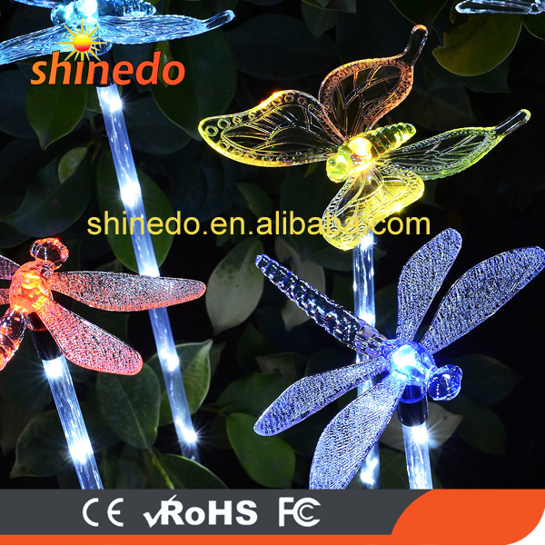 Outdoor RGB Lighting Butterfly Dragonfly Flamingo Animal Likes Solar Led Color Garden Stick Light With 6 Leds For Decoration