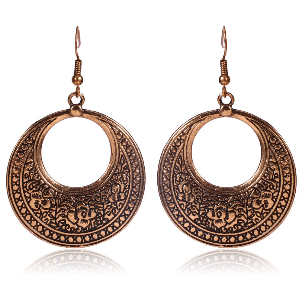 New Trendy Round Earings Copper Plate Design Jewelry Two Round Shape Earrings For Women
