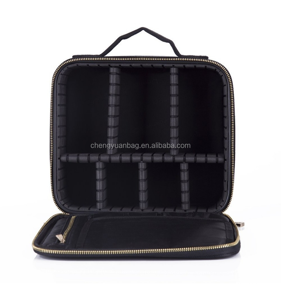 Mini Makeup Artist Train Case with compartments freely combined