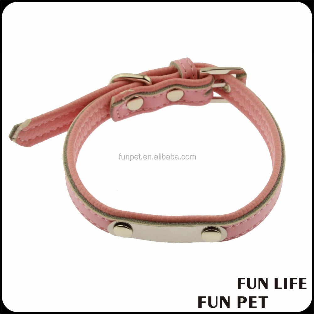 Custom Color Soft Leather Small Dog Collar colorful cowhide leather dog padded collar