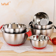 wholesale stainless steel 3PCS mixing bowls set without silicone bottom handle and spout