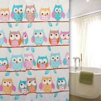 "Cute Owl Shower Curtains PEVA 71x71"" Bathroom Products Waterproof Polyester Shower Bath Curtain With 12 Hooks"