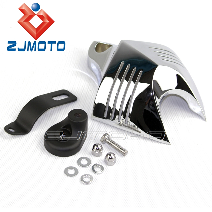 ZJMOTO Aluminum Horn Cover Chrome Motorcycle V-Shield Fit To Harley Custom 1992-2012 Softail Dyna Glide Twin Cam 88 and 96